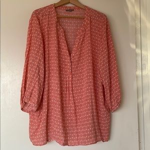 Blouse 3x peachy coral 3/4 sleeve